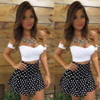Womens Sexy High-waisted Skirt Set 2 Pieces Bodycon Midi Party Dress Size 6-16