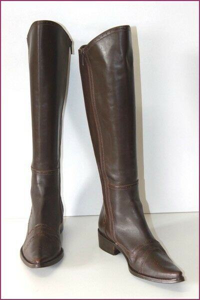 BAXXO Boots Pointed Leather Dark Brown Bands Elasticated T 38