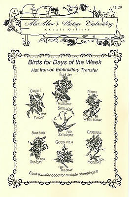 M129 Lovely Birds for the Kitchen DOW Towels Embroidery hot iron transfer |  eBay