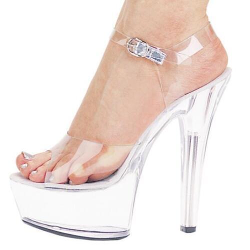 New Women/'s Transparent Plateforme 15 Cm Talon Haut Bout Ouvert Sandales Club Chaussures