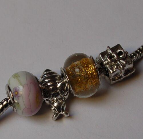 4 pièces großloch perle European Beads Bracelet chaîne Lampwork lampes perle glasperl