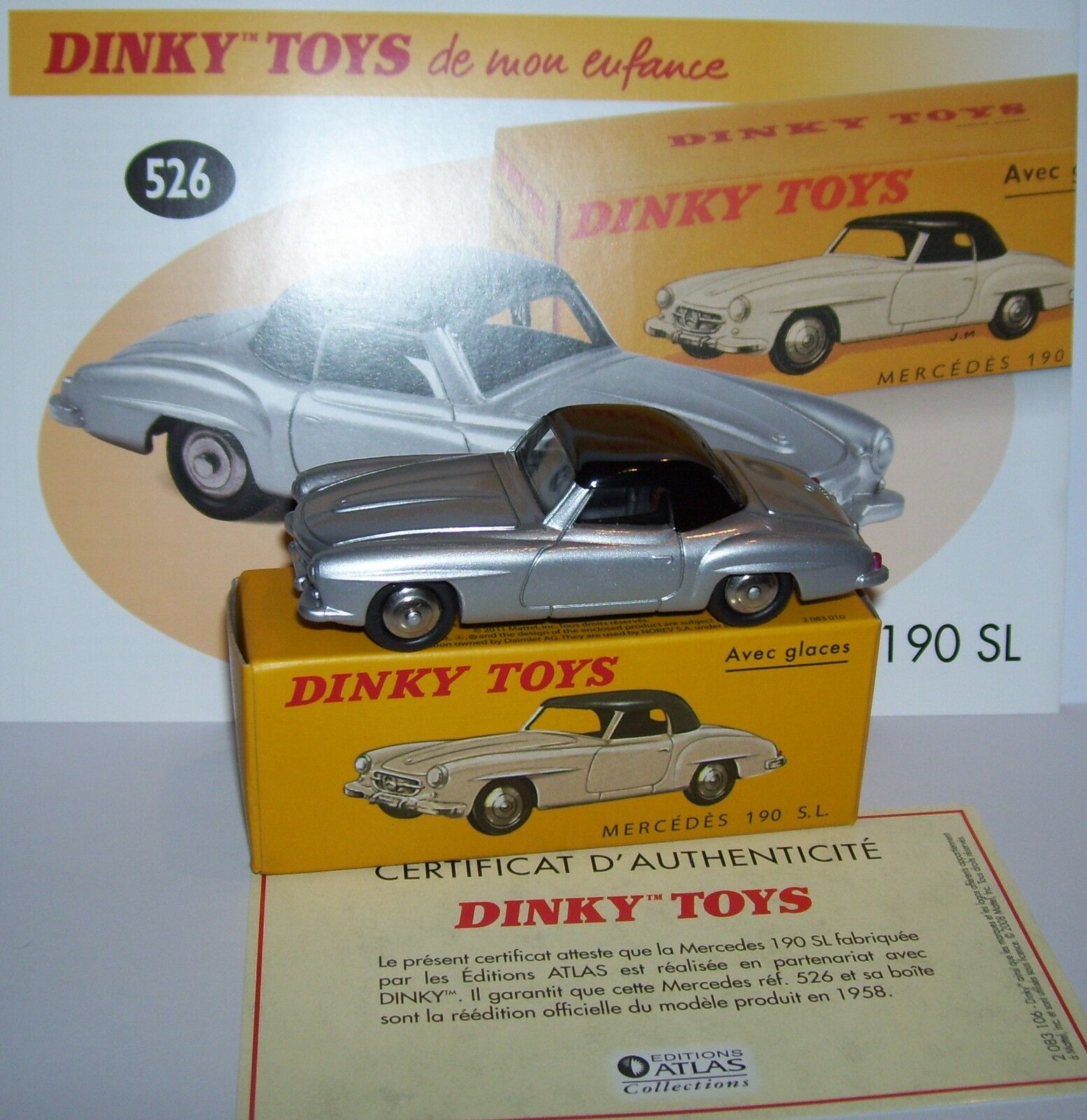 DINKY TOYS ATLAS MERCEDES-BENZ 190 SL BICOLOUR GREY METAL METAL METAL 1 43 REF 526 IN BOX b df5678