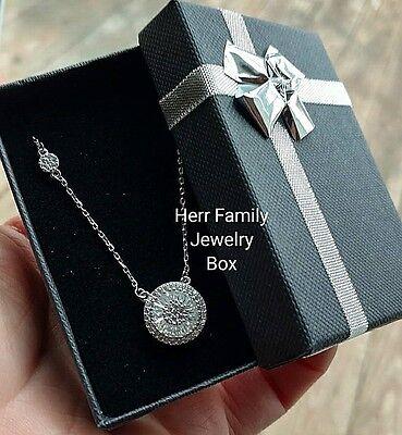 Solid .925 Sterling Silver Round Baguette cut Halo CZ Pendant Necklace Women's