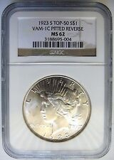 1923 S PEACE SILVER DOLLAR NGC MS 62 Vam 1C Pitted Reverse Mint Error Coin