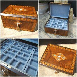 ANTIQUE JEWELLERY BOX -  EARLY 19c INLAID WALNUT WONDERFUL INTERIOR