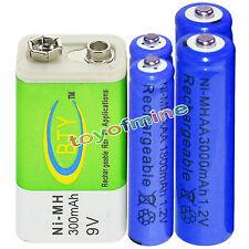2xAA 3000mAh+2x AAA 1800mAh 1.2V NI-MH Rechargeable Battery+1x BTY 9v  300mAh