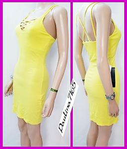 BEBE Crystal Logo Buttercup Lace Up Mini Dress w  Shelf Bra, M (NWT 59)