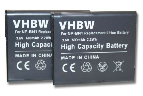 2x BATTERY 600mAh FOR Sony NP-BN1