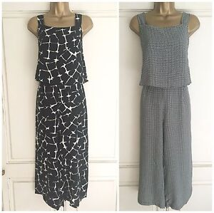 100% authenticated 2019 factory price customers first Details about NEW EX M&S COLLECTION BLACK & WHITE CRACKLE / CIRCLE PRINT  JUMPSUIT SIZE 8 - 20