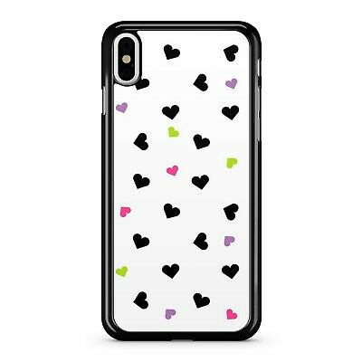 Black Pretty Purple Lush Green Fine Pink Love Hearts Pattern 2D Phone Case Cover