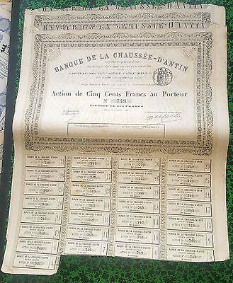 Superbe Action Houillères de Rongère de Fosse et de la Gaudière  1880 Dépt 03