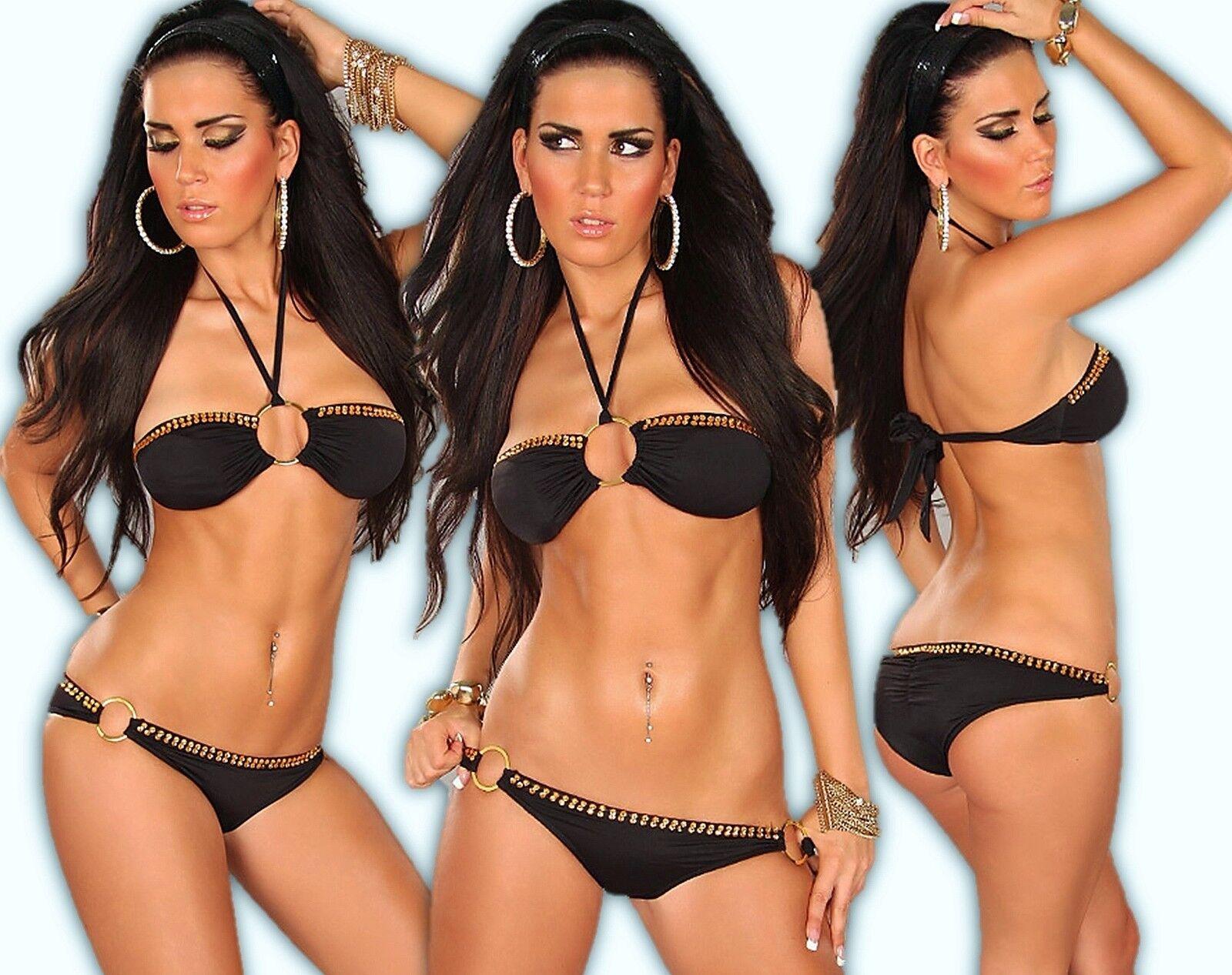 Neckholder Bikini Bandeau Push-Up Strass Tankini Brazil Monokini Badeanzug SW S