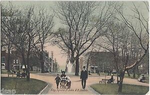 c1910-ST-JOHN-New-Brunswick-Canada-Postcard-KING-SQUARE-People-Fountain-Carriage