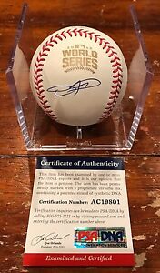 Dexter Fowler Autographed 2016 World Series Baseball Chicago Cubs PSA Authentic