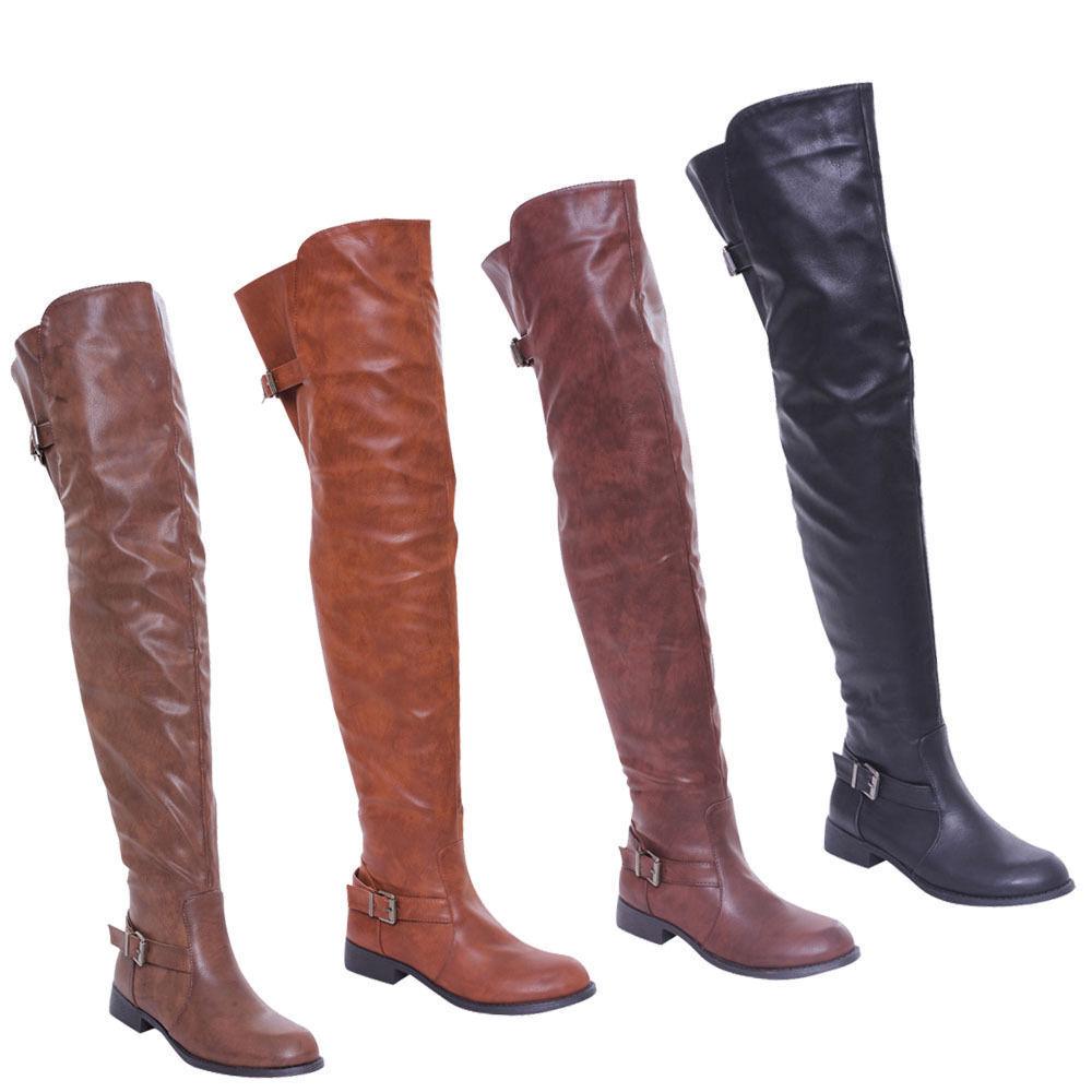 DE BLOSSOM COLLECTION Damens Buckle Side Zipper Zipper Zipper Thigh High Riding Stiefel RENEE-13 fd34df