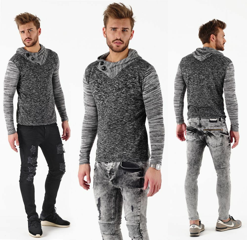 VSCT 2 BTN hooded moulinee Maglioncino Pullover Anthra grigio -