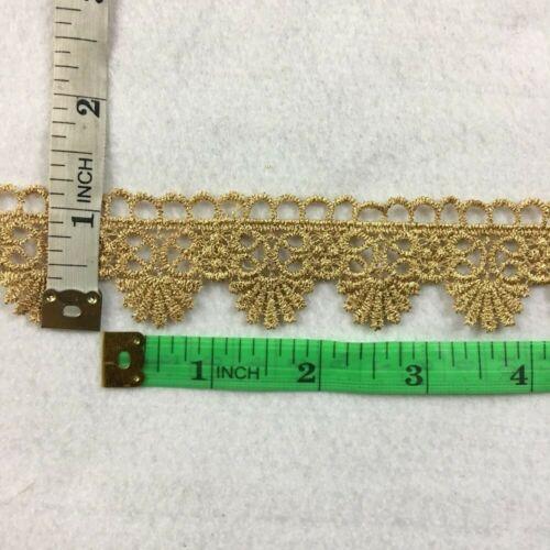 "Metallic Gold Trim Lace Royal Fan Design Lurex 1.1/"" Wide Venise Multi-Gold"