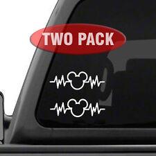 "Mickey Mouse Heartbeat 2PK - 6"" Car Truck Vinyl Decal Art Wall Sticker Disney"