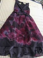 Purple Pink Rose Watercolor Size 4 Neiman Marcus Belted Party Dress