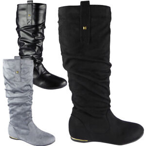 Womens-Pixie-Mid-Calf-Rouched-Wedge-Pull-On-Knee-Long-Ladies-Slouch-Boots-Size