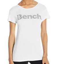 Bench Women's Expate Tee T-Shirt Reflective Logo Bright White Size Large