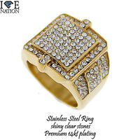 Stainless Steel 14kt Gold Plating Men's Ring With Shiny Clear Stones Str534