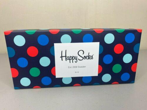 4 Pairs Combed Cotton Socks Happy Socks Big Dot Gift Box Men/'s Shoe Size 8-12