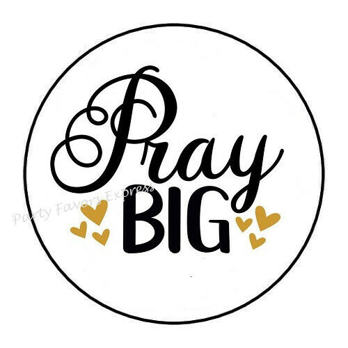 """30 PRAY BIG ENVELOPE SEALS LABELS PARTY FAVORS STICKERS 1.5/"""" ROUND"""