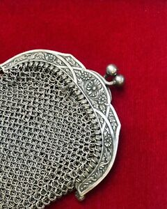 Antique Victorian silver coin purse chatelaine 19th French sterling art nouveau