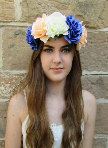 Large Blue Peach Ivory White Rose Flower Festival Headband Garland Big Vtg X-57