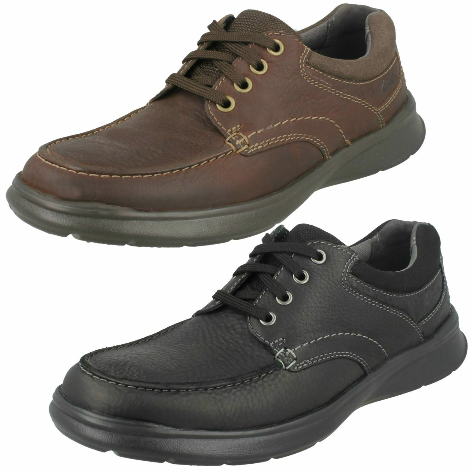 Mens Black/Brown Clarks Leather Lace Up Light Weight Shoes Cotrell Edge
