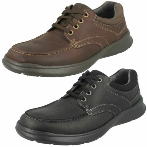 Mens Black//Brown Clarks Leather Lace Up Light Weight Shoes Cotrell Edge