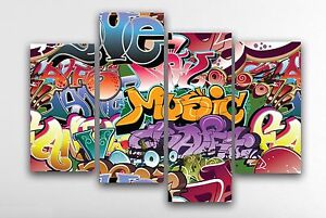 Large Graffiti Canvas Print Wall Art Picture - 4 Panel X Large - Abstract Design