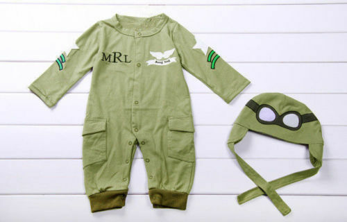 Astronauts Baby Boy Pilot Military Air Force Halloween Party Costume Outfit Set