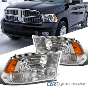 For 09-18 Dodge Ram Pickup Clear Headlights Quad Lamps 1500 2500 3500 2009-2018