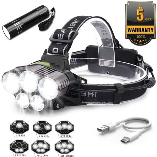 90000 Lumen 5x XML T6 LED Rechargeable USB Headlamp Headlight Flashlight Torch E