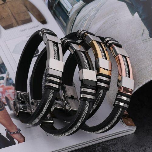 2019 Stainless Steel Silicone Men/'s WristBand Punk Style Bracelet Bangle Charm