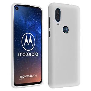 Custodia-in-Silicone-Lucido-amp-Opaco-Back-Cover-per-Motorola-una-visione-Bianco