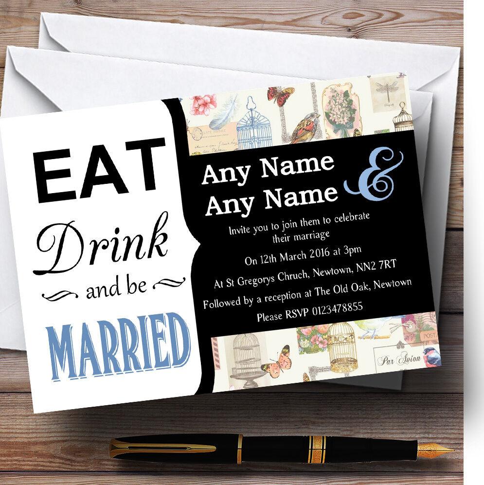 Eat Drink Vintage Birdcage Blau Personalised Wedding Invitations
