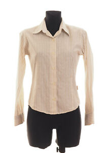 BARBOUR-Women-039-s-Beige-striped-long-sleeved-Casual-Shirt-Size-10