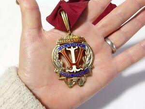 1943 S Institut Argent & émail Président Collier Bijou médaille #VI1