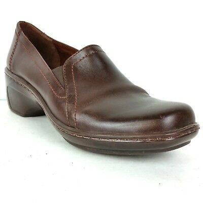 Clarks Women's Shoes Size 7.5m Brown Leather Slip On Wedge Heel Loafer 71809 Clothing, Shoes & Accessories Comfort Shoes