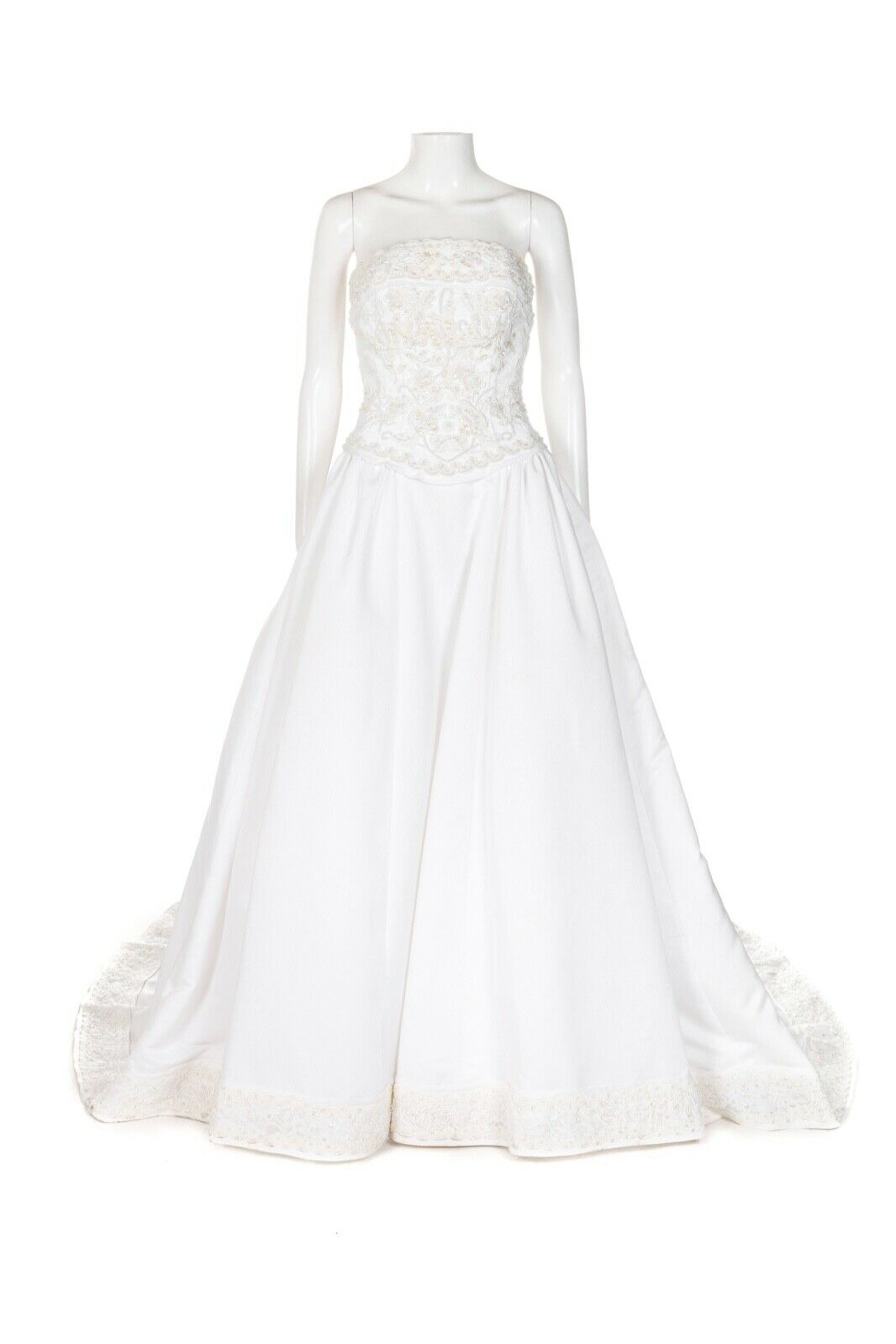 OLEG CASSINI White Beaded Wedding Dress 4 Corset Strapless Cathedral Train Gown
