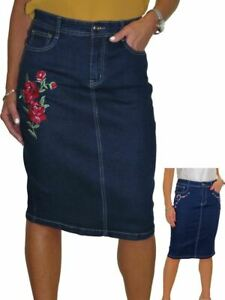 Damenmode Clever Ice Stretch Denim Jeans Skirt Embroidered Rose Indigo Dark Blue 12-24