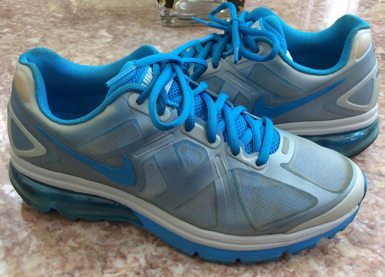 Nike Platinum Air Max Excellerate+ Women's Platinum Nike Blue Running Shoes Size 7 9355bc