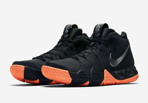 c8eb1396cc4 AUTHENTIC NIKE Kyrie 4 Basketball Shoes Black Orange Silver 943806 ...