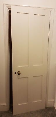 Internal White Wooden Door hinged with furniture Traditional lock brass knob
