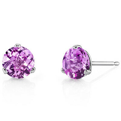 14 Kt White Gold Round Cut 2.25 ct Pink Sapphire Earrings
