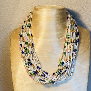 VTG-Runway-Glass-Pearl-Necklace-Statement-Iconic-Multi-Choker-1950s-French-Gold