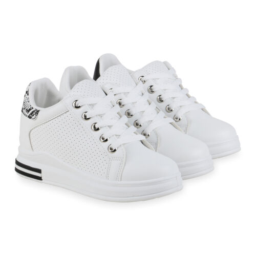 Damen Sneaker Wedges Keilabsatz Schnürer Keilsneaker 834751 Schuhe